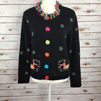 Berek Womens Size M Dog Sweater Scotty Scottie Black Cardigan
