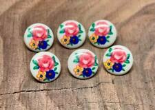 SET OF 6 ANTIQUE WHITE FLORAL PLASTIC SHANK BUTTONS 15MM NEW