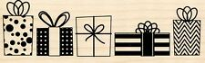 Row of Christmas Presents Hampton Art Rubber Stamp ~ w/m FREE SHIPPING. NEW