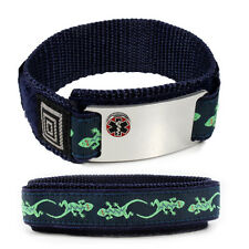 Lizard Sport Medical Alert ID Bracelet  Emblem. Free wallet Card and  engraving!