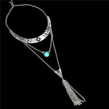 Retro Ethnic Bohemian Turquoise Statement Bib Necklace Tassel Pendant Women New