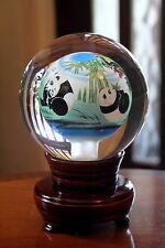 More details for chinese inside hand painted crystal ball  panda bears on   rotating  wood stand