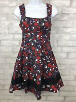 Hot Topic Skull Rose Floral A-line Skater Black Red Dress Juniors Size Small