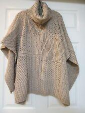NEW! CARRAIG DONN 100% Irish merino wool patchwork cape with cowl neckline. NWT!