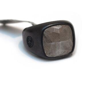 New DAVID YURMAN Men's Faceted Cushion Signet Ring Meteorite, Black Titanium 11
