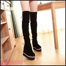 Women's Faux Suede High Platform Wedge Heels Slouch Over The Knee Thigh Boots Sz