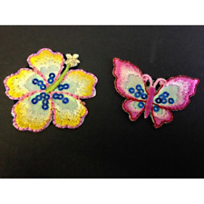 Hibiscus Flower and Butterfly Sequined Iron On Craft Motif Stylish Patch