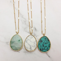 Fashion 14K Gold Plated Natural Stone Turquoise Teardrop Pendant Long Necklace