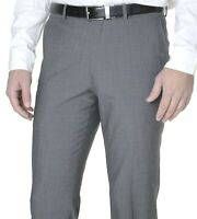 Alfani RED Slim Fit Brown Mini Check Flat Front Pre-Hemmed 100/% Wool Dress Pants