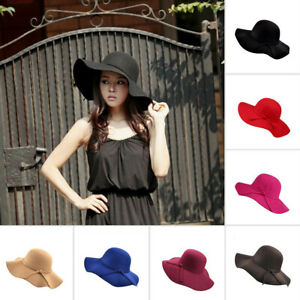 Vintage Women Wide Brim Floppy Warm Wool Felt Bowler Fedora Hat Floppy Beach