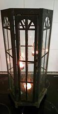 OLD LARGE hexagonal Metal framed glass panels 3 Hanging Lantern Tea Lights.