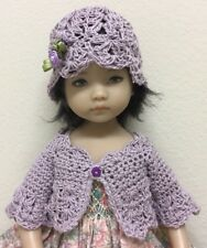 """HaNd Crochet Lilac  Sweater & Hat ~ For Effner Little Darling Or 13"""" 14"""" Dolls"""