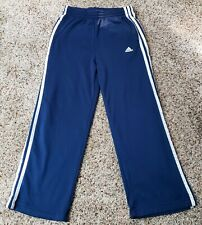 Kids ADIDAS Track Pants Size Medium 3 White Stripes Navy Blue Climalite