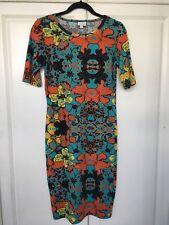 LuLaRoe Julia Dress Floral Print Teal/Turquoise Black Orange Gold Size S Small
