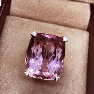 One-Of-A-Kind Awesome Solitaire 29.00CT Rose Pink Cushion Kunzite Wedding Ring
