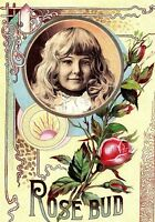 1888 Large Victorian Trade Card Rose Bud Tablet Adorable Child &B