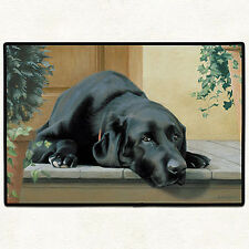 "BLACK LAB DOORMAT - RUBBER BACKED DOOR MAT - 27"" x 18"" - LABRADOR RETRIEVER"