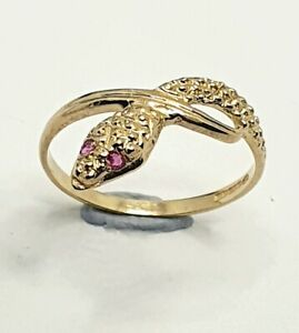 9ct yellow gold Ruby Snake Ring Size M