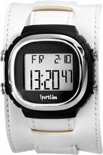 Herrenuhr Schwarz Weiß Digital Kunststoff Leder Quarz Armbanduhr X-268172100004