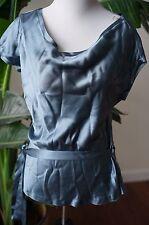 Development by Phillip Lim blue 100% silk short sleeve blouse made in USA SZ2