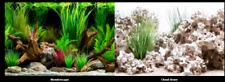 poster fond aquarium reversible 40 X 45 CM souche  bois / pierrre a trou