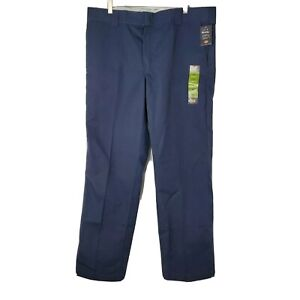 NWT Dickies Slim Straight Mens Size 38x32 Navy Blue Flat Front Work Pants