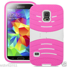 SAMSUNG GALAXY S5 SPORT G860 HYBRID WAVE ARMOR SKIN COVER W/STAND PINK WHITE
