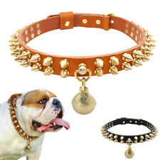Leather Dog Spiked Studded Collar with Gold Bell Cool for Small Large Dogs Boxer