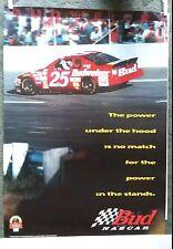 NEW NEVER DISPLAYED 1997 NASCAR #25 BUDWEISER CHEVROLET POSTER BUD NASCAR