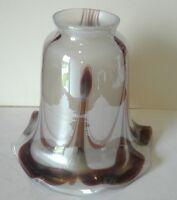 Art Glass Shade Iridescent Brown Lamp Art Nouveau Fixture Globe