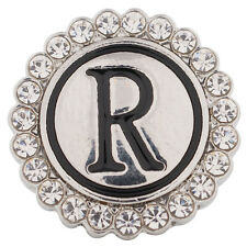 SNAP IN BUTTON CHARM FITS GINGER SNAPS STYLE JEWELRY ALPHABET R #38 INITIAL