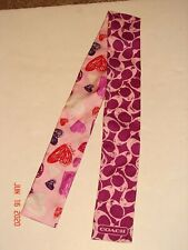 COACH CLASSIC SIG PONY - HEART - Pink PONYTAIL Silk SCARF Bag Accessories NICE