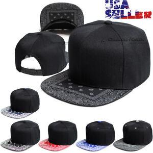 Bandana Baseball Cap Snapback Adjustable Hip Hop Hat Paisley Flat Bill Blank Men