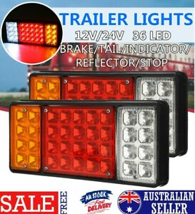 2pcs 12V Rear Tail Lights LED Light For Transporter Truck Lorry Trailer Chassis