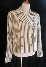 Lauren Ralph Lauren White Linen Black Stripes Military Jacket Blazer Large