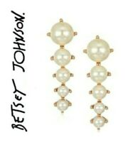US Seller Betsey Johnson Faux Pearl Stud Earrings Fashion Jewelry
