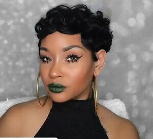 Real Peruvian Human Hair Pre-Plucked Short Pixie Cut Afro Wavy Curly Wig No-Lace