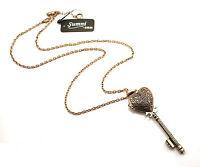 Women Girl Retro Vintage Look OPEN Heart locket Key Charm Long Chain Necklace