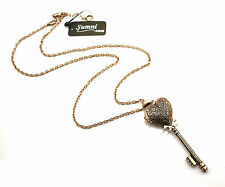 Women Girl Retro Vintage Look OPEN Heart locket Key Charm Long Chain Necklace