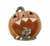 "Light Up Jack O Lantern Pumpkin with Mice 11"" Halloween Figurine Battery Op"
