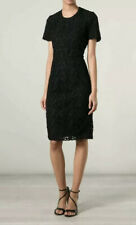Burberry Black Lace Dress Embroidered Cotton Christa Floral Guipure Size 4 IT 38