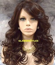 "27"" Wavy Brown Mix Long Lace Front Wig Heat Ok Hair Piece #4/27 NWT"