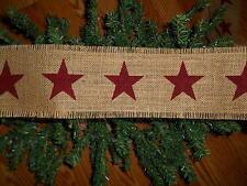 "Burgundy Stars Burlap Ribbon Garland 4"" X 120"" Primitive, Christmas, Country"