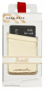 Case-Mate Pockets Stick-on Card Holder for Smartphones Gold New Free Shipping