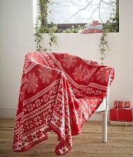FLEECE BLANKET ALPINE RED NORDIC CHRISTMAS SNOWFLAKE THEME SINGLE THROW WHITE