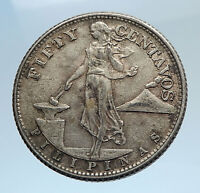 1944 S PHILIPPINES - FIFTY Centavos United States of America Silver Coin i74293
