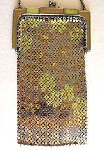 Antique Art Deco Whiting & Davis DAISY Enamel Mesh Metal Flapper Chain Purse