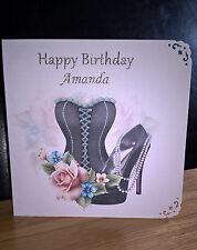 Personalised Handmade Birthday Card Bodice Shoe & Flowers FREE POST