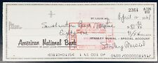 Stan Musial 1967 Signed Personal Bank Check St Louis Cardinals HOF Auto