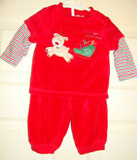 LITTLE/by/LITTLE~boys~CHRISTMAS/2/PC/FIRST/XMAS/VELOUR/TOP/PANTS! (0/3/MO) CUTE!